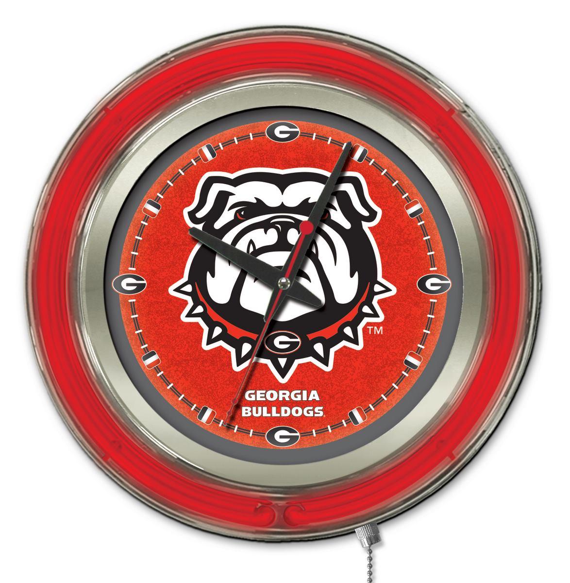 Georgia quotBulldogquot Double Neon Ring 15quot dia Logo Clock  : Clk15GA Dog from zerbee.com size 1174 x 1200 jpeg 171kB