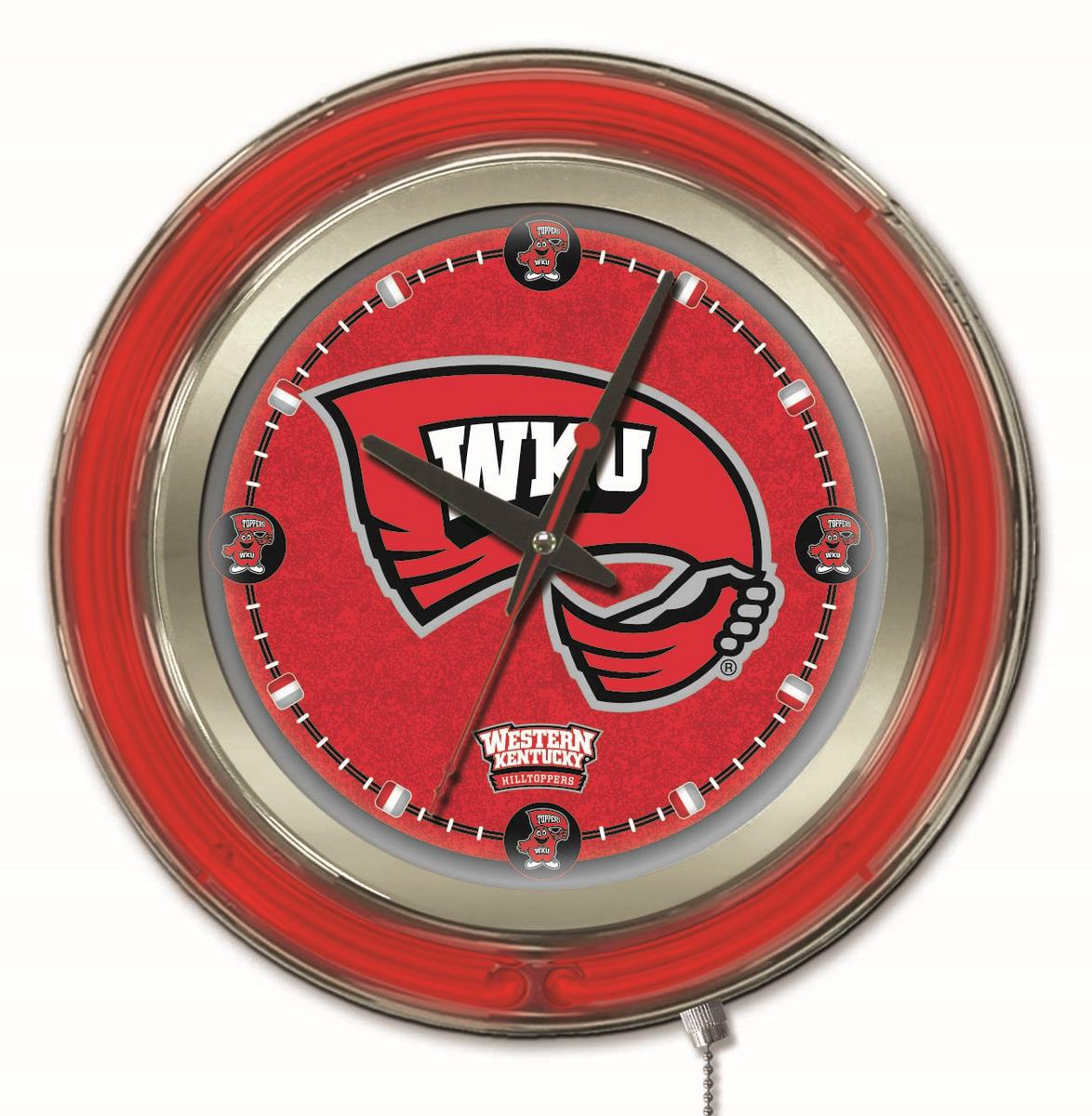 Western Kentucky Double Neon Ring 15quot dia Logo Clock  : Clk15WestKy from zerbee.com size 1174 x 1200 jpeg 173kB