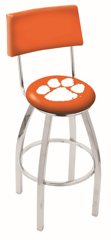 25 Quot L8c4 Chrome Clemson Swivel Bar Stool With A Back